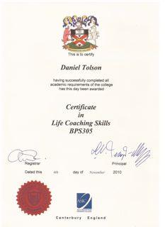 Daniel Tolson - Business Coach - 2010 - Life Coach Certification
