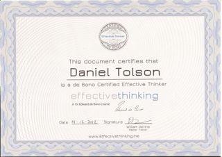 Daniel Tolson - Business Coach - 2012 - Dr Edward DeBono Certification